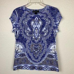 INC Blue Sparkle T Shirt L